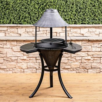 St Lucia Cast Iron Fire Pit Chiminea with Barbecue Grill