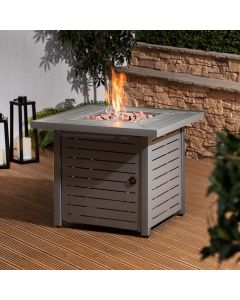 Fire Mountain Gas Fire Pit with Lava Rocks and Protective Cover