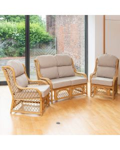 Cadiz Cane and Diamond Lattice Conservatory Furniture Set - Arran Natural