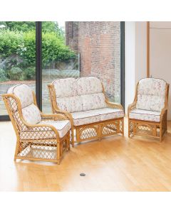 Cadiz Cane and Diamond Lattice Conservatory Furniture Set - Wild Flower Heather