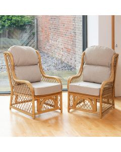 2 Cadiz Cane and Diamond Lattice Conservatory Armchairs - Arran Natural