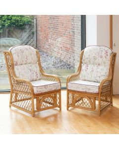 2 Cadiz Cane and Diamond Lattice Conservatory Armchairs - Wild Flower Heather