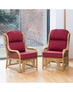 2 Cadiz Cane and Diamond Lattice Conservatory Armchairs - Premium Chilli