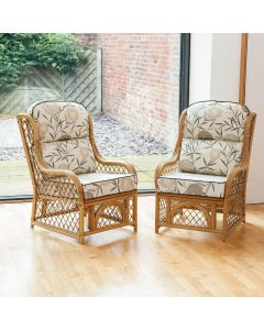 2 Cadiz Cane and Diamond Lattice Conservatory Armchairs - Bamboo Natural