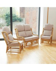 Cadiz Cane and Diamond Lattice Conservatory Furniture Set - High Back Premium Linen
