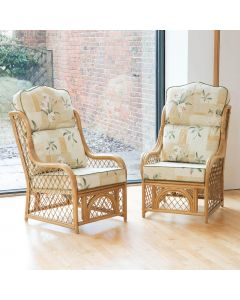2 Cadiz Cane and Diamond Lattice Conservatory Armchairs - High Back Harrogate Natural