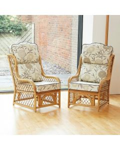 2 Cadiz Cane and Diamond Lattice Conservatory Armchairs - High Back Bamboo Natural