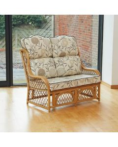Cadiz 2 Seater Cane and Diamond Lattice Conservatory Sofa - High Back Bamboo Natural