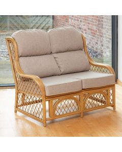 Cadiz 2 Seater Cane and Diamond Lattice Conservatory Sofa - Arran Natural