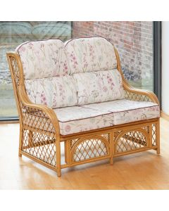 Cadiz 2 Seater Cane and Diamond Lattice Conservatory Sofa - Wild Flower Heather