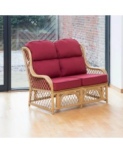 Cadiz 2 Seater Cane and Diamond Lattice Conservatory Sofa - Premium Chilli