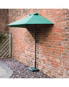 2.7m Wind Up Green Half Parasol with Green Base