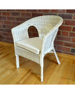 Hand-Woven Wicker and Cane Chair with Natural Coloured Cushion - Pearl