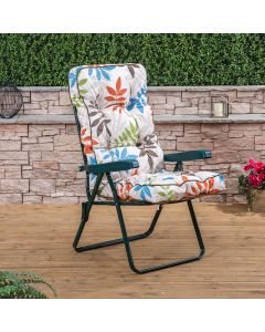 Recliner Chair - Green Frame with Classic Alexandra Beige Leaf Cushion