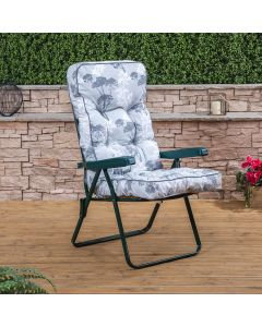 Recliner Chair - Green Frame with Classic Francesca Grey Cushion