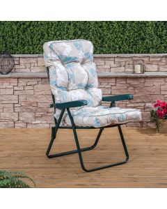 Recliner Chair - Green Frame with Classic Francesca Beige Cushion
