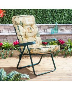 Recliner Chair - Green Frame with Classic Leaf Beige Cushion