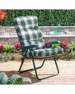 Recliner Chair - Green Frame with Classic Green Check Cushion