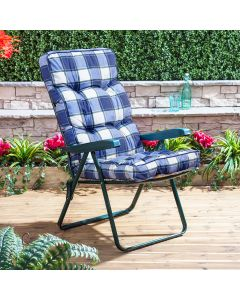 Recliner Chair - Green Frame with Classic Blue Check Cushion