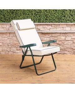 Recliner Chair - Green Frame with Luxury Cream Cushion