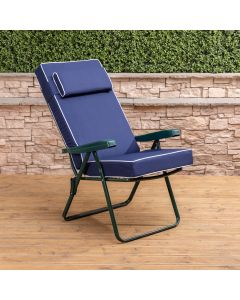 Recliner Chair - Green Frame with Luxury Navy Blue Cushion