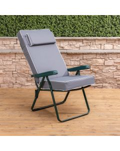 Recliner Chair - Green Frame with Luxury Grey Cushion