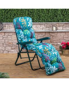 Relaxer Chair - Green Frame with Classic Alexandra Green Leaf Cushion