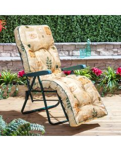 Relaxer Chair - Green Frame with Classic Leaf Beige Cushion