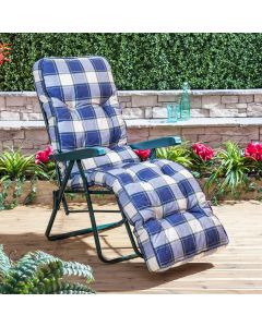 Relaxer Chair - Green Frame with Classic Blue Check Cushion