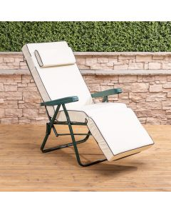 Relaxer Chair - Green Frame with Luxury Cream Cushion
