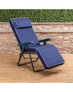 Relaxer Chair - Green Frame with Luxury Navy Blue Cushion