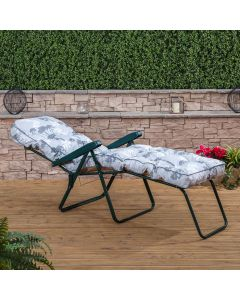 Sun Lounger - Green Frame with Classic Francesca Grey Cushion