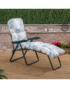 Sun Lounger - Green Frame with Classic Francesca Beige Cushion