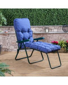 Sun Lounger - Green Frame with Classic Blue Cushion