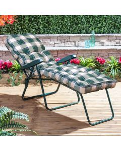 Sun Lounger - Green Frame with Classic Green Check Cushion