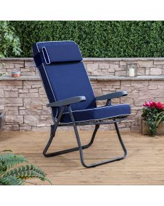 Recliner Chair - Charcoal Frame with Luxury Navy Blue Cushion