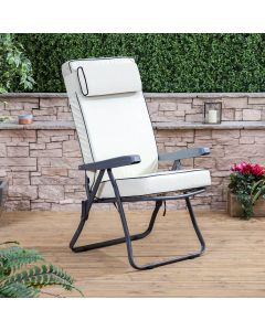 Recliner Chair - Charcoal Frame with Luxury Cream Cushion