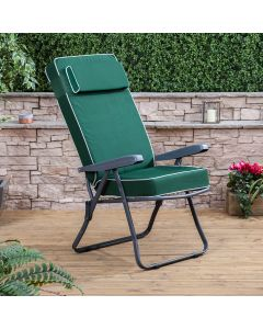 Recliner Chair - Charcoal Frame with Luxury Green Cushion