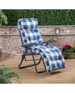 Relaxer Chair - Charcoal Frame with Classic Blue Check Cushion