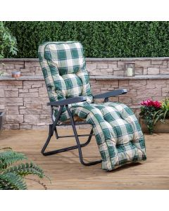 Relaxer Chair - Charcoal Frame with Classic Green Check Cushion