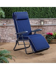 Relaxer Chair - Charcoal Frame with Luxury Navy Blue Cushion
