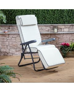 Relaxer Chair - Charcoal Frame with Luxury Cream Cushion