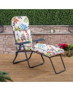 Sun Lounger - Charcoal Frame with Classic Alexandra Beige Leaf Cushion