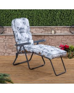 Sun Lounger - Charcoal Frame with Classic Francesca Grey Cushion