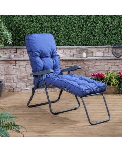 Sun Lounger - Charcoal Frame with Classic Blue Cushion