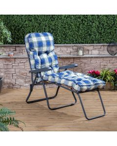 Sun Lounger - Charcoal Frame with Classic Blue Check Cushion