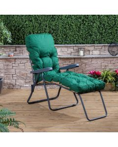 Sun Lounger - Charcoal Frame with Classic Green Cushion