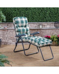 Sun Lounger - Charcoal Frame with Classic Green Check Cushion