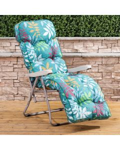 Relaxer Chair - Cappuccino Frame with Classic Alexandra Green Leaf Cushion