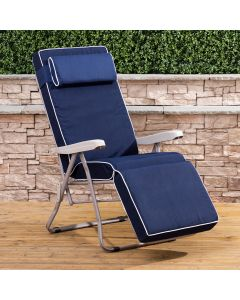 Relaxer Chair - Cappuccino Frame with Luxury Navy Blue Cushion